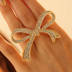 Sweet Golden Diamond Embellished Over Size Bow Tie Open Link Metal Ring_Ring_Jewellery_Cheap Clothes,Cheap Shoes Online,Wholesale Shoes,Clothing On lovelywholesale.com - LovelyWholesale.com