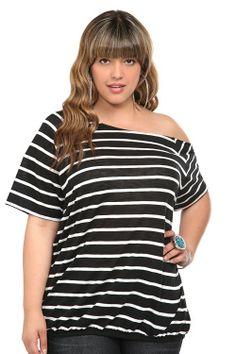 Striped Callie Off-Shoulder Tee