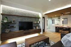 昼光色の照明 Living Room Tv, Interior Design Living Room, Living Room Designs, Home Room Design, House Design, Japanese Living Rooms, Family Room Walls, Tv Wall Design, Home Office Setup