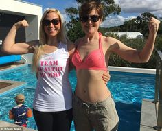 Glowing:The 38-year-old, from Sydney, posed alongside her mother in the photograph - the pair of them showing off their incredible figures and glowing complexions