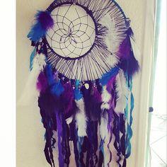 "Custom Dreamcatcher - Made to Order ""Moon Design"" Teal and Purple Feather and Gemstone Dream Catcher - Bohemian Nursery Custom Home Decor"