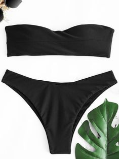 ZAFUL 2018 New Women Swimsuit Bandeau Thong Bikini Set Swimwear Women Low Waisted Solid Tube Strapless Padded Brazilian Biquni Bandeau Bikini Set, Bikini Swimwear, Thong Bikini, Bikini Types, Bra Styles, Bra Tops, Women Swimsuits, Clothes For Women, Women's Clothing