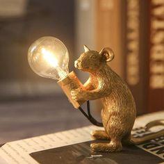 Animal Lamp, Animal Decor, Led Desk Lamp, Table Lamps, Bedside Lamp, Cute Mouse, Mini Mouse, Luminaire Design, Lamp Design