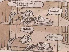 - Vili vili vili vili... Bidi bidi...  + Hihihi...  - Nah!  + Haydaa...  #karikatür #mizah #matrak #komik #espri #şaka #gırgır #komiksözler