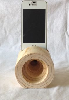 Wooden iPhone acoustic amplifier. $17.00, via shedinc on Etsy