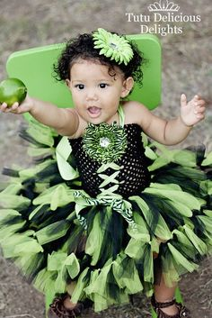 Lime and Black Halter Petti Tutu Dress by TutuDeliciousDelight. $33.50, via Etsy.
