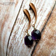 Vintage copper post dangle earrings with vintage amethyst czech glass-copper teardrop vintage earrings-copper post earring-post dangles