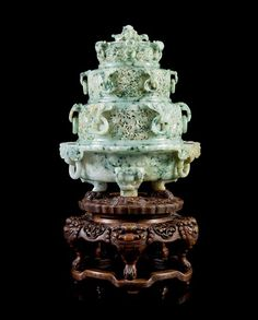 A Large Chinese Imperial Pierce- and Relief Carved Jadeite Four Tier Tripod | Chinese Works of Art: Including Imperial Treasures from an Important American Collection | November 2, 2015 Chicago