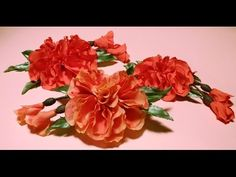 Fabric flowers how to make/satin ribbons hibiscus/tutorial/Цветы из лент:розовый гибискус/легко - YouTube