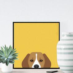 Chien beagle sur fond jaune - 23x23cm