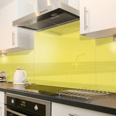 Yellow - Colour Glass Splashback x [Yellow Glass Splash Back x - : Cooker Hoods, Hobs and Ovens from PremierRa. New Kitchen, Kitchen Dining, Kitchen Cabinets, Kitchen Ideas, Dining Room, Range Cooker, Cooker Hoods, Small Appliances, Kitchen Appliances