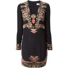 Emilio Pucci ethnic embroidered dress (10.960 BRL) ❤ liked on Polyvore featuring dresses, emilio pucci, vestidos, black, kohl dresses, embroidered dress, black dress, black embroidered dress and silk dress
