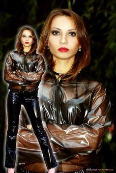Vinyl Raincoat, Pvc Raincoat, Plastic Raincoat, Plastic Pants, Latex Lady, Sexy Outfits, Cool Outfits, Vinyl Dress, Plastic