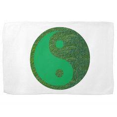 NVN27 navinJOSHI Green Balance YIN YANG Chinese Hand Towels