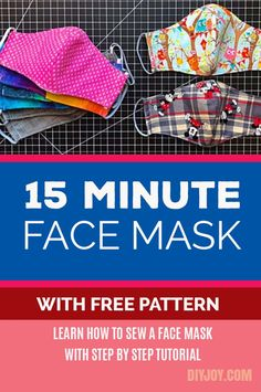 Easy DIY Face Mask - Free Pattern for Making Homemade Face Masks from Fabric - Step by Step Sewing Instructions Easy Face Masks, Homemade Face Masks, Diy Face Mask, Sewing Patterns Free, Free Sewing, Free Pattern, Pattern Sewing, Pocket Pattern, Free Easy Crochet Patterns