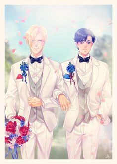 A beautiful, romantic print featuring Ash and Eiji from Banana Fish getting married (the ending we all wanted!) 💕 - 5 x 7 print - heavyweight card stock - matte finish Sad Anime, Kawaii Anime, Anime Manga, Anime Guys, Anime Art, Otaku, Fish Icon, Fish Wallpaper, Shall We Date