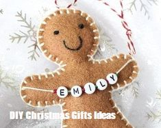 Your place to buy and sell all things handmade Christmas decoration, Personalised Christmas Ornament, Gingerbread Man, personalised gingerbread man, tree decorations Handmade Christmas Decorations, Christmas Ornaments To Make, Felt Decorations, Personalized Christmas Ornaments, Felt Ornaments, Christmas Projects, Christmas Fun, Holiday Crafts, Ornaments Ideas