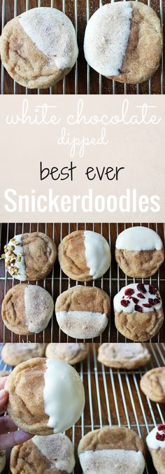 The BEST ever Snickerdoodles cinnamon sugar cookies dipped in gourmet white chocolate. Grandma's famous Snickerdoodle recipe that has been passed down is a family favorite.