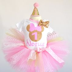 Pink Gold Minnie Mouse outfit , pink gold first birthday Minnie Mouse dress, first birthday Minnie Mouse. Pink gold tutu by GABYROBBINSDESIGNS on Etsy
