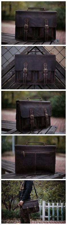 Handcrafted Top Grain Genuine Leather Laptop Briefcase Business Handbag Men Messenger Bag 0344
