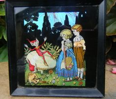 Art Deco c1930s Butterfly Wing Fairy Tale Picture Painting of Fairies Pixies | eBay, sold for £82.00 / A Little Under 130mm Squared.