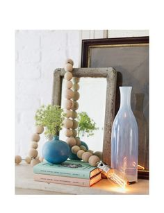 Wooden Bead Lamp via Sweet Paul Magazine - Spring 2013 - Page Industrial Light Fixtures, Vintage Light Fixtures, Outdoor Light Fixtures, Vintage Industrial Lighting, Rustic Lighting, Outdoor Lighting, Lighting Ideas, Home Improvement Projects, Wooden Beads