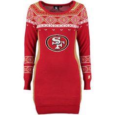Women's Klew Scarlet San Francisco 49ers Big Logo Ugly Sweater Dress