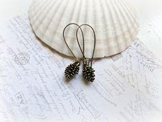 Golden Brass Pine Cone earrings by HappyTearsbyMicah on Etsy