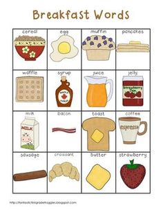 Writing Center Tools- Breakfast Words
