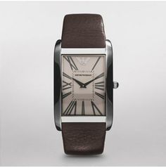 Super Slim    $112.50 SALE Original Price - $225 A super slim case shape makes this Emporio Armani timepiece the ultimate in sophistication. An amber crystal along with a smooth, brown leather strap completes the look.