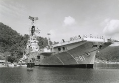 """Aircraft carrier """"Karel Doorman"""" of the Royal Netherlands Navy. She was sold to Argentina and was deployed during the Falklands War. The Argentinians beached her in India in 2000 to be scrapped."""