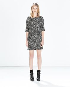 $60  PRINTED DRESS WITH GATHERED HIP from Zara