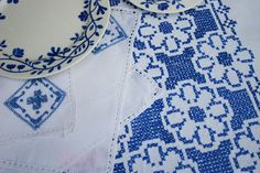Swedish Blue and White Linen Tablecloth