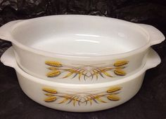 Vintage Fire King  wheat pattern baking dishes.  I have 2 of these.
