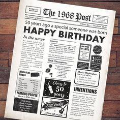 50th Birthday Newspaper Poster, 50th Gift, 50 Birthday Poster