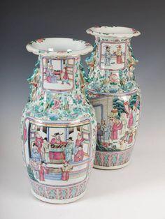 Par de vasos em porcelana Chinesa de Cantao do sec.19th, Familia Rosa, 47cm de altura, 3,890 USD / 3,480 EUROS / 12,190 REAIS / 25,820 CHINESE YUAN
