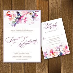 This invitation is 5x7 and printed on white matte card stock, and mounted onto heavyweight pale lilac metallic backing. Comes complete with