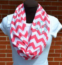 Monogrammed Chevron Coral & White Chevron Infinity Scarf Knit Jersey on Etsy, $28.00