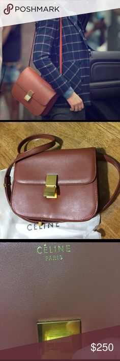 Celine classic Box/unsure of authenticity of bag Got it as a gift but it was very good looking bag not my style trying to clean up some never used they said it's a classic style Celine bag,again not sure about the bag authentic or not smell like leather their is marking on the bag as shown in the picture Celine Bags Crossbody Bags