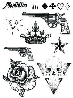 This tattoo set includes playing card symbols, tears, a big and a small gun, a… Hd Tattoos, Fake Tattoos, Body Art Tattoos, Small Tattoos, Tattoos For Guys, Wrist Tattoos, Tattos, Tattoo Sketches, Tattoo Drawings