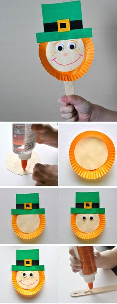 Leprechaun Stick Puppet | DIY St Patricks Day Crafts for Toddlers to Make