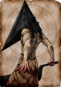 I just love the style in which this was drawn; the perspective and anatomy are amazing as well ^u^ Pyramid Head by WickedJuti.deviantart.com on @deviantART