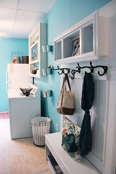 happy aqua blue laundry room makeover, cleaning tips, laundry rooms, painted furniture, shelving ideas, wall decor, woodworking projects