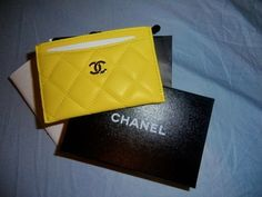 Yellow Chanel card holder