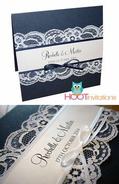 Elegant wedding invitation: Navy Blue with white Lace Invitation.    Navy blue invitation, white lace, invite, wedding invitation, navy blue ribbon, dark blue #elegantinvitation  #weddinginvitation #navywedding  #hootinvitations