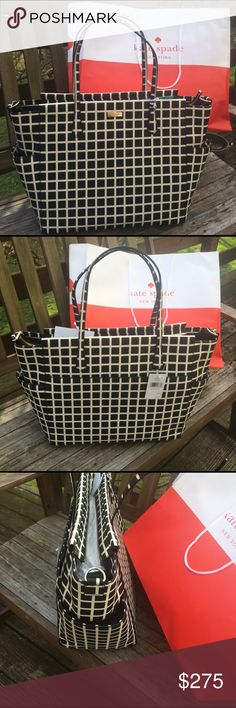 NWT Kate Spade Kaylie Bag - XL New with tags. Photo of gift receipt attached to listing. Guaranteed authentic. This XL bag can be used as a purse, shopper, beach tote, baby bag. Has a detachable longer and heavier strap when used as an overnight or baby bag. kate spade Bags Baby Bags
