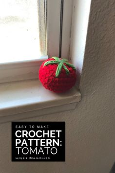Use this easy to make, beginner crochet amigurumi pattern to make a toy tomato for your childs play kitchen. This pattern uses chunky yarn and is the perfect 1 skein and 1 hour project. #crochet #amigurumi #kellyprattfiberarts #crochettoys #freecrochetpatterns Crochet For Beginners, Beginner Crochet, Free Crochet, Crochet Ideas, Chunky Knitting Patterns, Crochet Patterns Amigurumi, Quick Crochet Gifts, Crochet Strawberry, Finger Crochet