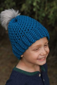 Crochet this quick and easy beanie with a free crochet pattern by Winding Road Crochet. It just takes one skein of yarn to make this 2 hour crochet beanie. Crochet Hooded Scarf, Crochet Beanie Pattern, Crochet Mittens, Crochet Slippers, Crochet Scarves, Hand Crochet, Knit Crochet, Crochet Hats, Crotchet