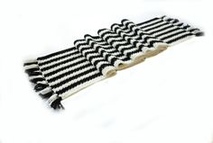 Special Offer buy black and white striped woolen scarf di linarekl, $159.00