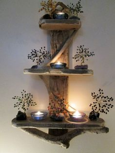 """Approx 8"""" spacing between shelves. All hand collected from the local beach. Sorry, but ornaments and candles are not included. Stainless wall hanging loop affixed to rear.   eBay!"""